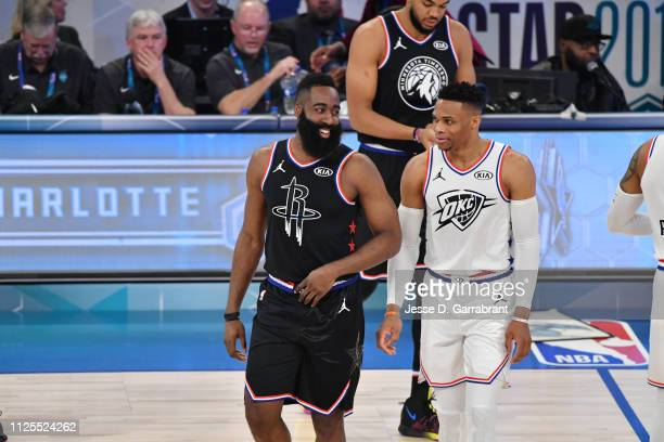 James Harden of Team LeBron and Russell Westbrook of Team Giannis look on during the 2019 NBA All Star Game on February 17 2019 at Spectrum Center in...