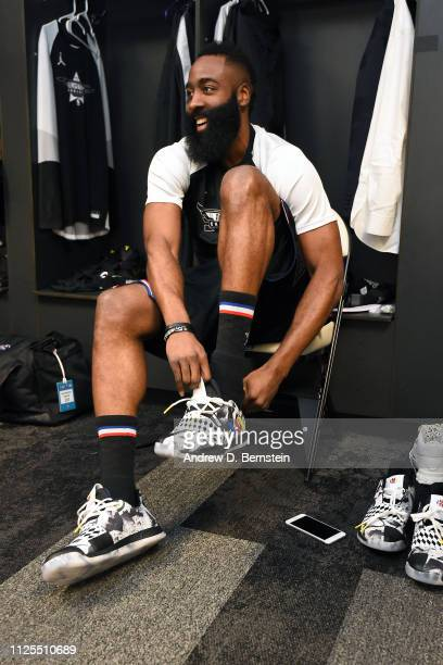James Harden of Team LeBron gets ready before the 2019 NBA AllStar Game on February 17 2019 at the Spectrum Center in Charlotte North Carolina NOTE...