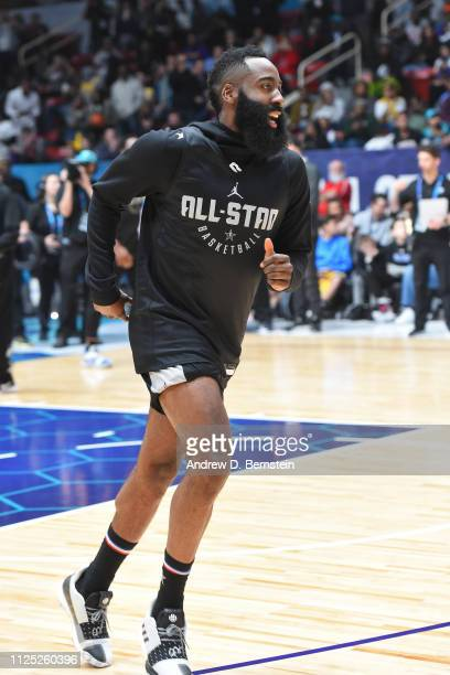 James Harden of Team LeBron runs up court during the 2019 NBA AllStar Practice and Media Availability on February 16 2019 at Bojangles Coliseum in...