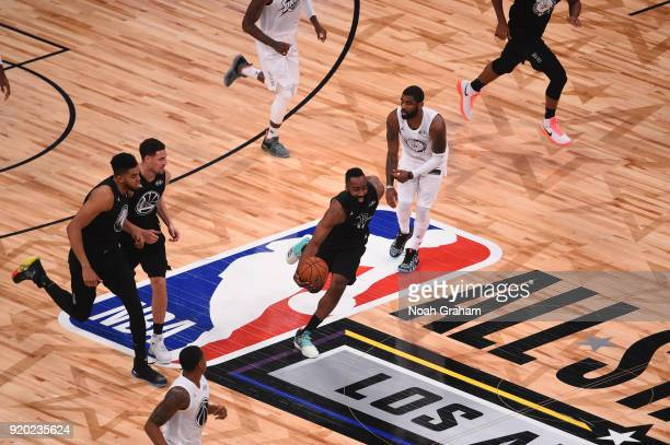 James Harden of team Stephen dribbles up the court during the NBA AllStar Game as a part of 2018 NBA AllStar Weekend at STAPLES Center on February 18...