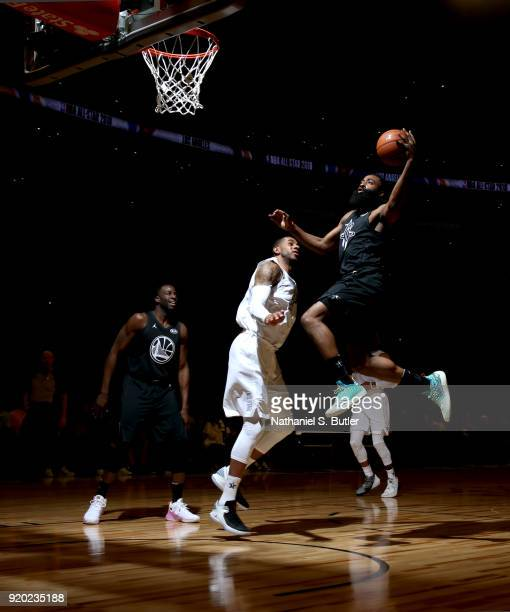 James Harden of Team Stephen goes to the basket against Team LeBron during the NBA AllStar Game as a part of 2018 NBA AllStar Weekend at STAPLES...