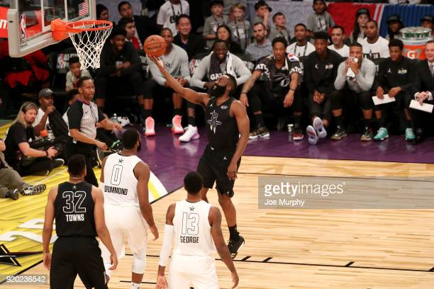 James Harden of Team Stephen goes up for a lay up against Team LeBron during the NBA AllStar Game as a part of 2018 NBA AllStar Weekend at STAPLES...