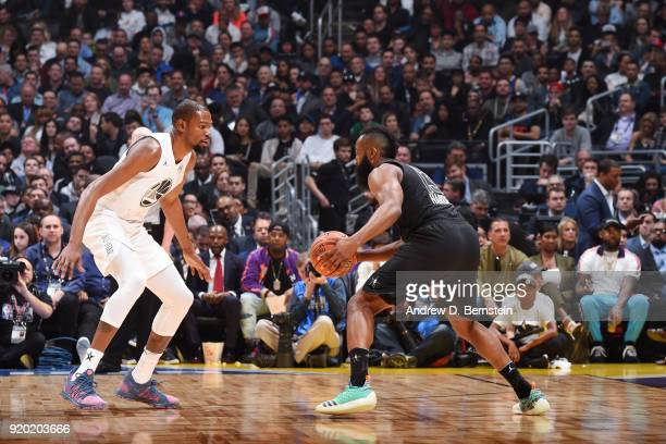 James Harden Of Team Stephen handles the ball against Kevin Durant Of Team LeBron during the NBA AllStar Game as a part of 2018 NBA AllStar Weekend...