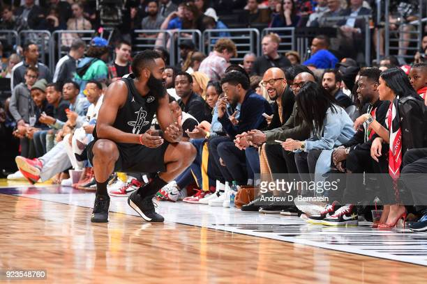 James Harden of team Stephen looks on during the NBA AllStar Game as a part of 2018 NBA AllStar Weekend at STAPLES Center on February 18 2018 in Los...