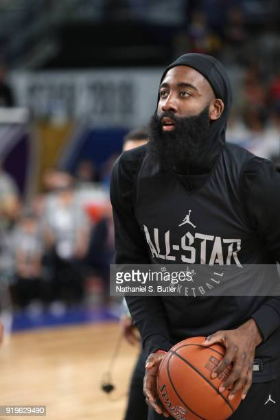 James Harden of Team Stephen participates in the NBA AllStar practice as part of the 2018 NBA AllStar Weekend on February 17 2018 at the Verizon Up...