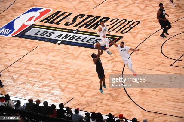 James Harden of team Stephen shoots against Anthony Davis of team LeBron during the NBA AllStar Game as a part of 2018 NBA AllStar Weekend at STAPLES...