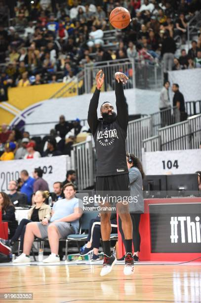 James Harden of team Stephen shoots during the 2018 NBA All Star Practice as part of 2018 AllStar Weekend at Verizon Up Arena at LACC on February 17...