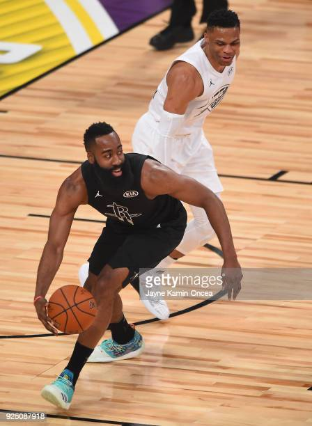 James Harden of Team Stephen steals the ball from Russell Westbrook of Team LeBron during the NBA AllStar Game 2018 at Staples Center on February 18...