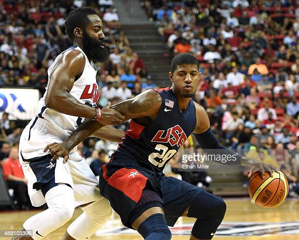 James Harden of the 2014 USA Basketball Men's National Team guards Paul George of the 2014 USA Basketball Men's National Team during a USA Basketball...