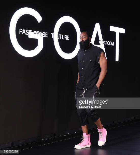 James Harden of the Brooklyn Nets arrives to the arena before the game against the Milwaukee Bucks during Round 2, Game 7 of the 2021 NBA Playoffs on...