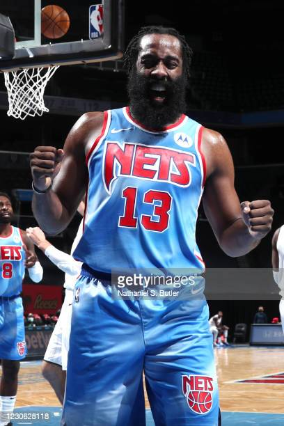 James Harden of the Brooklyn Nets celebrates during the game against the Orlando Magic on January 16, 2021 at Barclays Center in Brooklyn, New York....