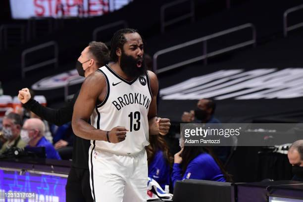 James Harden of the Brooklyn Nets celebrates during the game against the LA Clippers on February 21, 2021 at STAPLES Center in Los Angeles,...