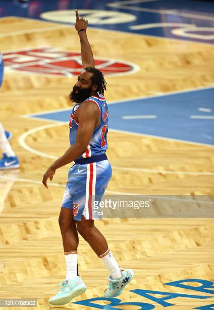 James Harden of the Brooklyn Nets celebrates his three point shot in the third quarter against the San Antonio Spurs at Barclays Center on May 12,...