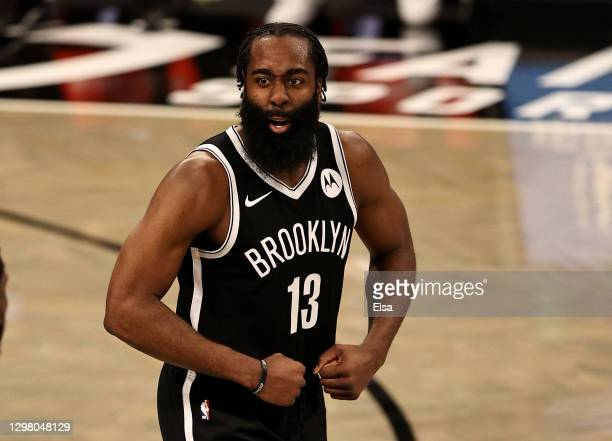 James Harden of the Brooklyn Nets celebrates in the fourth quarter against the Miami Heat at Barclays Center on January 23, 2021 in New York...