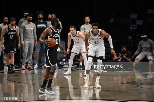 James Harden of the Brooklyn Nets handles the ball against Giannis Antetokounmpo of the Milwaukee Bucks during Round 2, Game 7 on June 19, 2021 at...