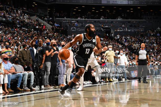 James Harden of the Brooklyn Nets handles the ball against the Milwaukee Bucks during Round 2, Game 7 on June 19, 2021 at Barclays Center in...
