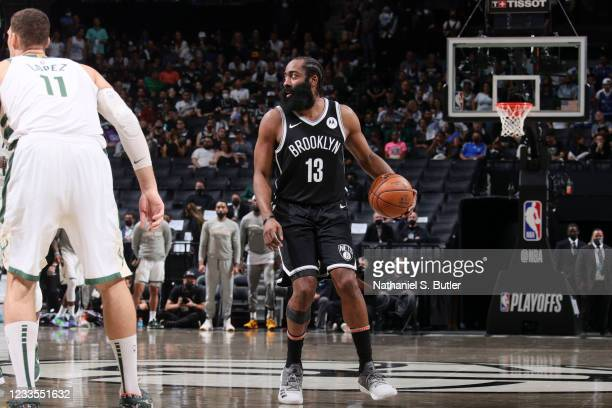 James Harden of the Brooklyn Nets handles the ball during the game against the Milwaukee Bucks during Round 2, Game 7 of the 2021 NBA Playoffs on...