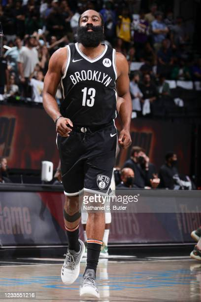 James Harden of the Brooklyn Nets looks on before the game against the Milwaukee Bucks during Round 2, Game 7 of the 2021 NBA Playoffs on June 19,...