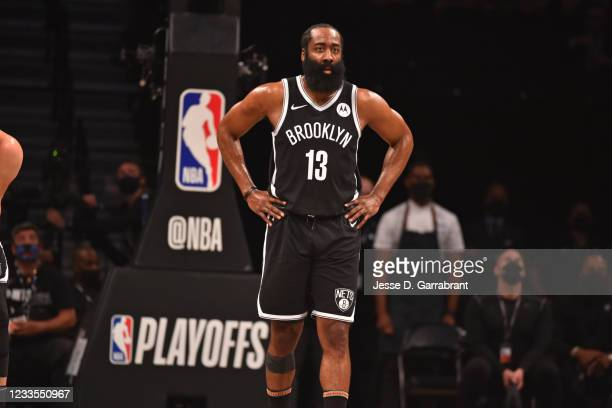 James Harden of the Brooklyn Nets looks on during Round 2, Game 7 on June 19, 2021 at Barclays Center in Brooklyn, New York. NOTE TO USER: User...