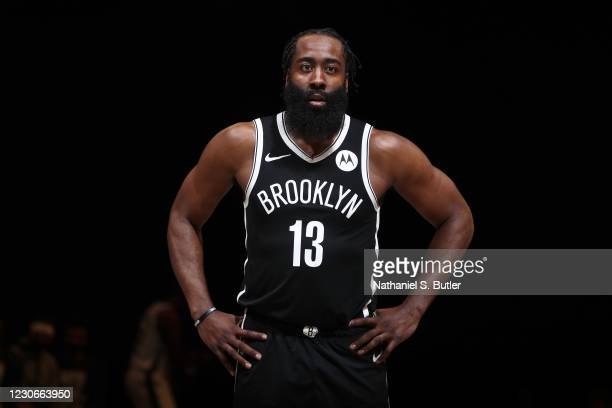 James Harden of the Brooklyn Nets looks on during the game against the Milwaukee Bucks on January 18, 2021 at Barclays Center in Brooklyn, New York....