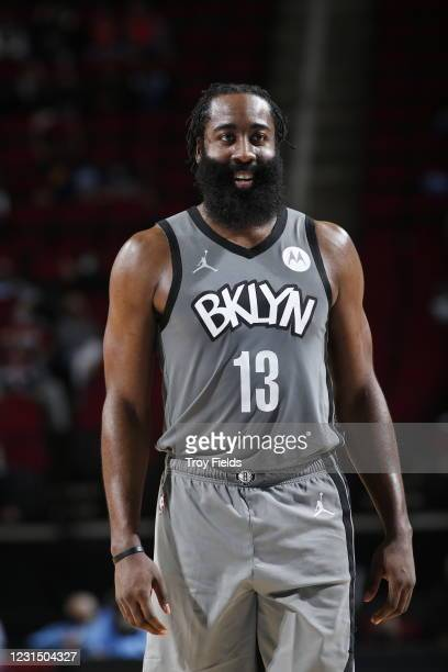 James Harden of the Brooklyn Nets looks on during the game against the Houston Rockets on March 3, 2021 at the Toyota Center in Houston, Texas. NOTE...