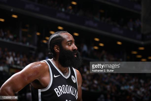 James Harden of the Brooklyn Nets looks on during the game against the Milwaukee Bucks during Round 2, Game 7 of the 2021 NBA Playoffs on June 19,...