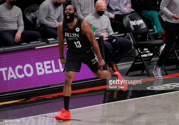James Harden of the Brooklyn Nets reacts after scoring during the first half of Game Five of their Eastern Conference first-round playoff series...