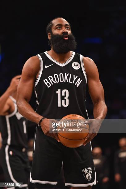 James Harden of the Brooklyn Nets shoots a free throw during a game against the Milwaukee Bucks during Round 2, Game 7 on June 19, 2021 at Barclays...