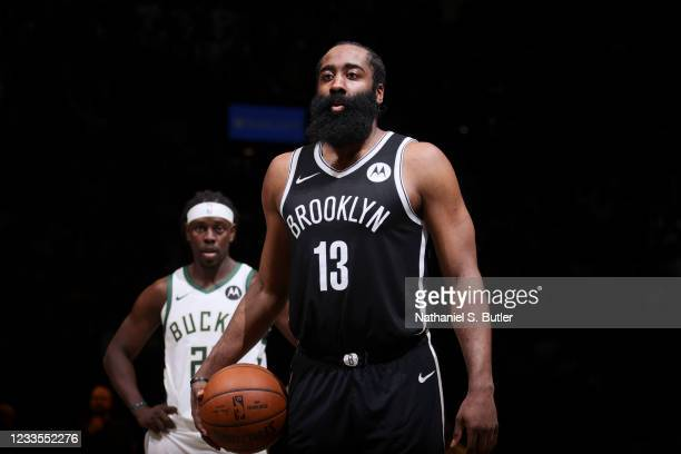 James Harden of the Brooklyn Nets shoots a free throw during the game against the Milwaukee Bucks during Round 2, Game 7 of the 2021 NBA Playoffs on...