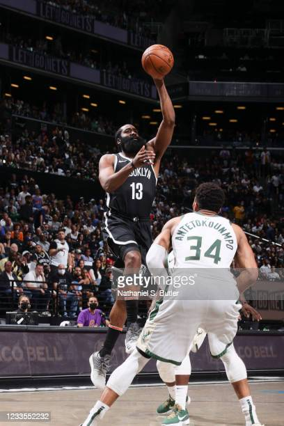 James Harden of the Brooklyn Nets shoots the ball during the game against the Milwaukee Bucks during Round 2, Game 7 of the 2021 NBA Playoffs on June...