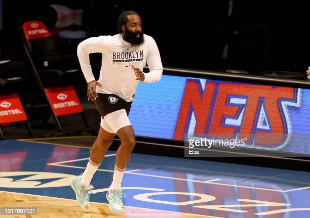 James Harden of the Brooklyn Nets warms up before the game against the San Antonio Spurs at Barclays Center on May 12, 2021 in the Brooklyn borough...
