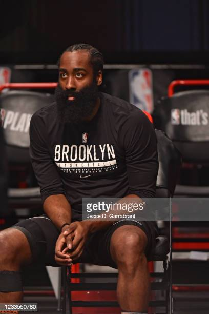 James Harden of the Brooklyn Nets warms up prior to a game against the Milwaukee Bucks during Round 2, Game 7 on June 19, 2021 at Barclays Center in...
