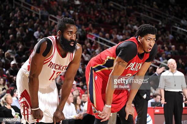 James Harden of the Houston Rockets and Anthony Davis of the New Orleans Pelicans during the gameon December 2 2015 at the Toyota Center in Houston...