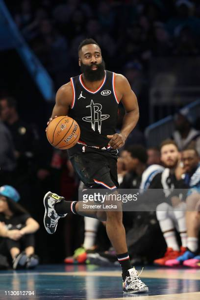 James Harden of the Houston Rockets and Team LeBron dribbles as they take on Team Giannis during the NBA AllStar game as part of the 2019 NBA AllStar...