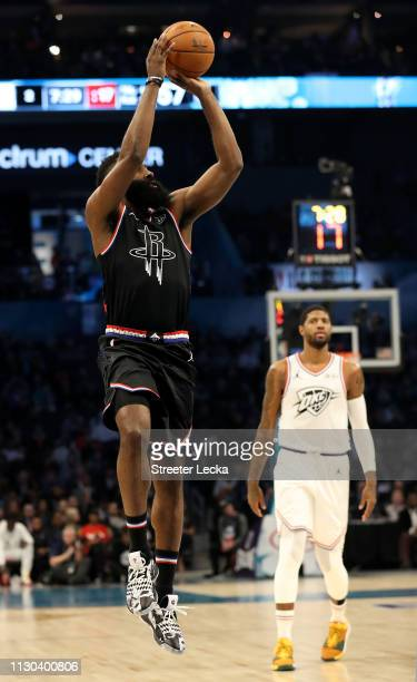James Harden of the Houston Rockets and Team LeBron shoots against Team Giannis in the first quarter during the NBA AllStar game as part of the 2019...