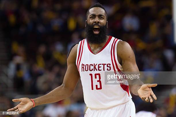 James Harden of the Houston Rockets argues a call during the second half against the Cleveland Cavaliers at Quicken Loans Arena on March 29 2016 in...
