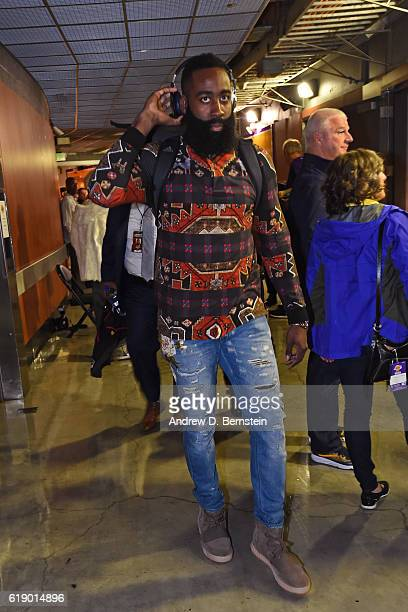 James Harden of the Houston Rockets arrives at the arena before the game against the Los Angeles Lakers on October 26 2016 at STAPLES Center in Los...