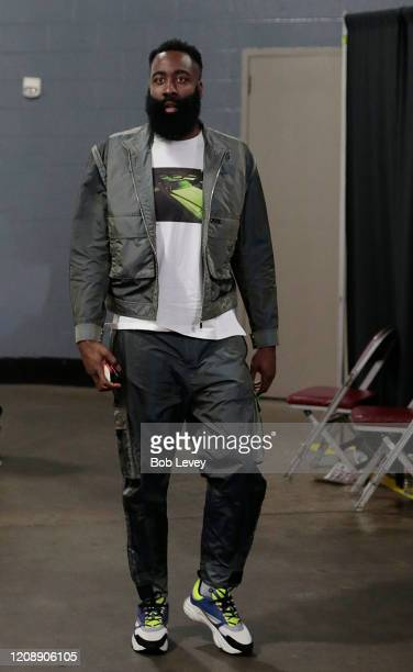 James Harden of the Houston Rockets arrives at Toyota Center before playing the Memphis Grizzlies on February 26 2020 in Houston Texas NOTE TO USER...