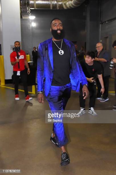 James Harden of the Houston Rockets arrives before Game Two of Round One of the 2019 NBA Playoffs against the Utah Jazz on April 17 2019 at the...