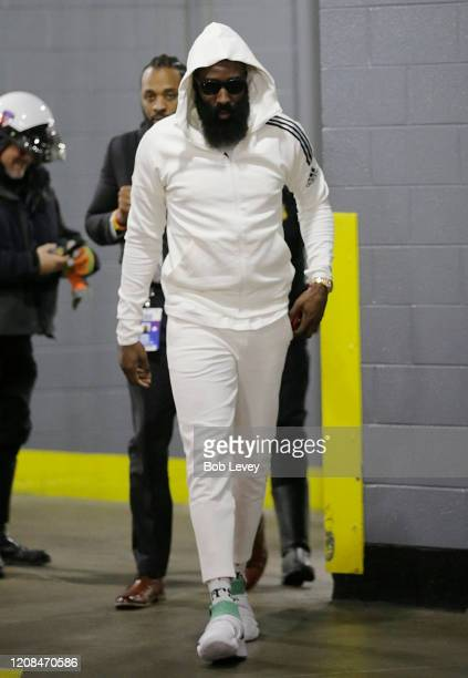 James Harden of the Houston Rockets arrives before playing the New York Knicks at Toyota Center on February 24 2020 in Houston Texas NOTE TO USER...