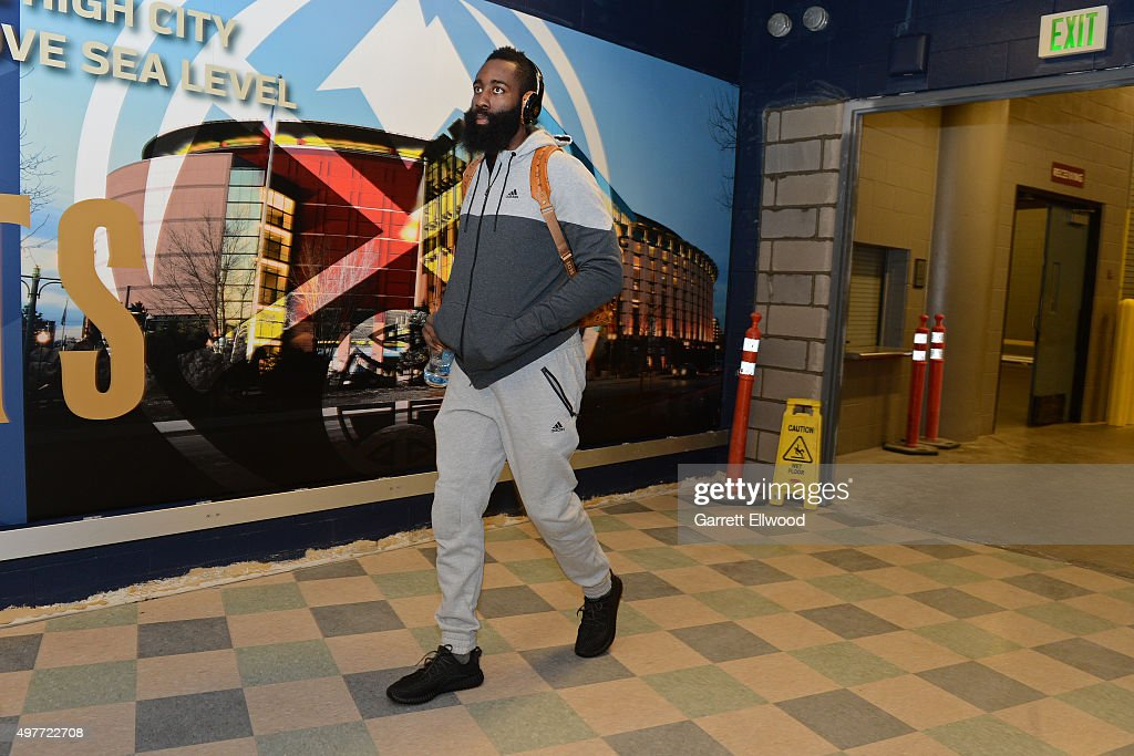James Harden #13 of the Houston Rockets arrives before the game against the Denver Nuggets on November 13, 2015 at the Pepsi Center in Denver, Colorado.