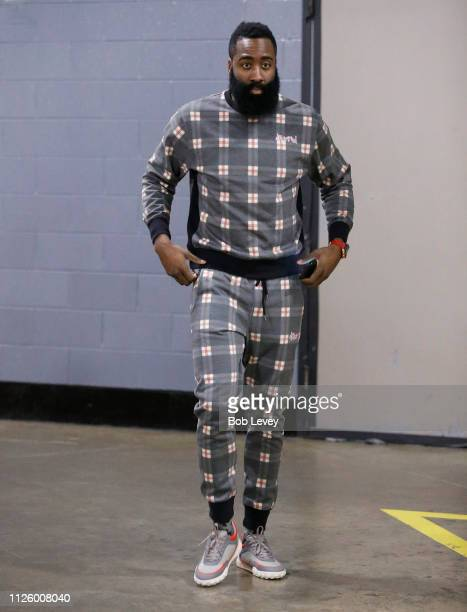 James Harden of the Houston Rockets arrives for a basketball game against the New Orleans Pelicans at Toyota Center on January 29 2019 in Houston...