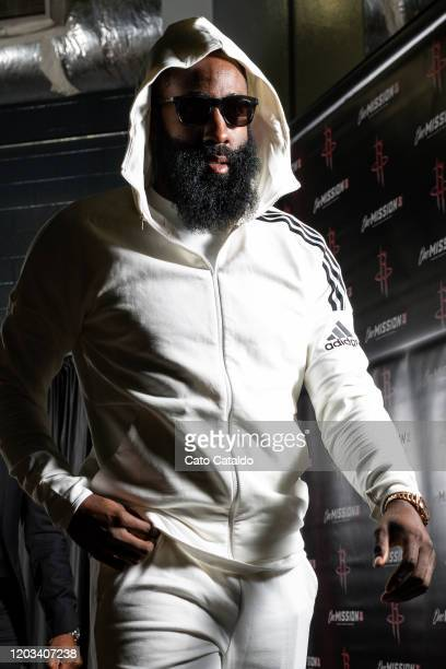 James Harden of the Houston Rockets arrives for the game against the New York Knicks on February 24 2020 at the Toyota Center in Houston Texas NOTE...