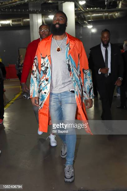 James Harden of the Houston Rockets arrives prior to a game against the New Orleans Pelicans on October 17 2018 at Toyota Center in Houston Texas...
