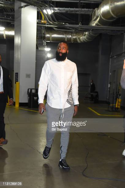 James Harden of the Houston Rockets arrives prior to a game against the Minnesota Timberwolves on March 17 2019 at the Toyota Center in Houston Texas...