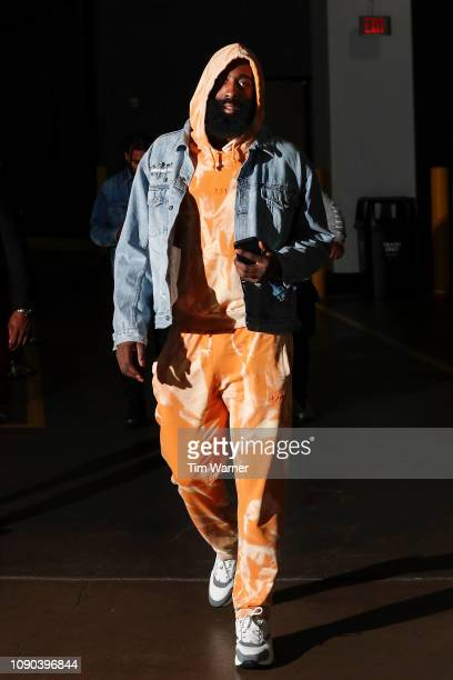 James Harden of the Houston Rockets arrives prior to the game against the Orlando Magic at Toyota Center on January 27 2019 in Houston Texas NOTE TO...