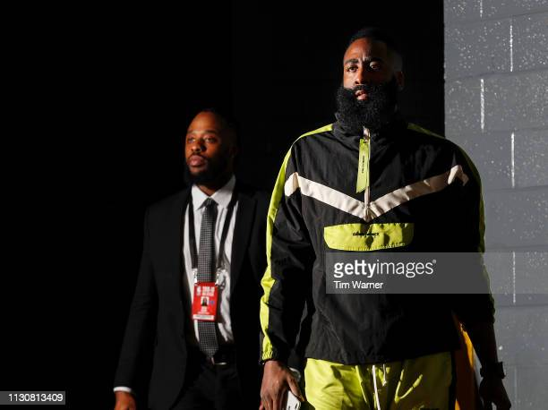 James Harden of the Houston Rockets arrives prior to the game against the Phoenix Suns at Toyota Center on March 15 2019 in Houston Texas NOTE TO...