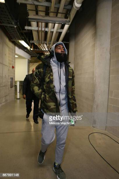 James Harden of the Houston Rockets arrives to the arena prior to the game against the Utah Jazz on December 7 2017 at VivintSmartHome Arena in Salt...