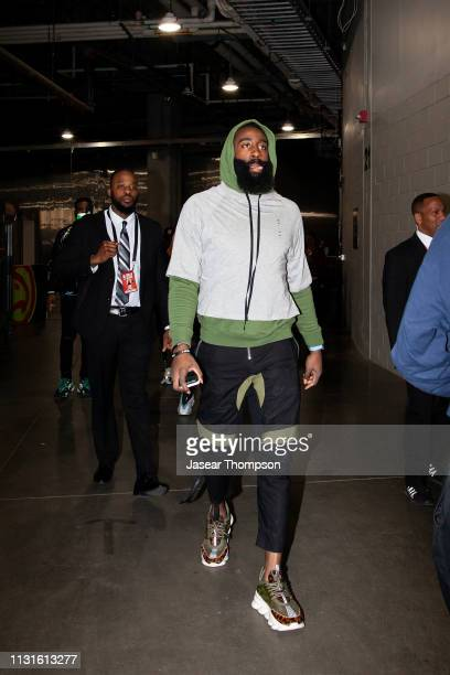 James Harden of the Houston Rockets arrives to the game against the Atlanta Hawks on March 19 2019 at State Farm Arena in Atlanta Georgia NOTE TO...