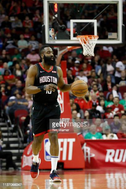 James Harden of the Houston Rockets brings the ball up court in the first half against the Minnesota Timberwolves at Toyota Center on March 17 2019...
